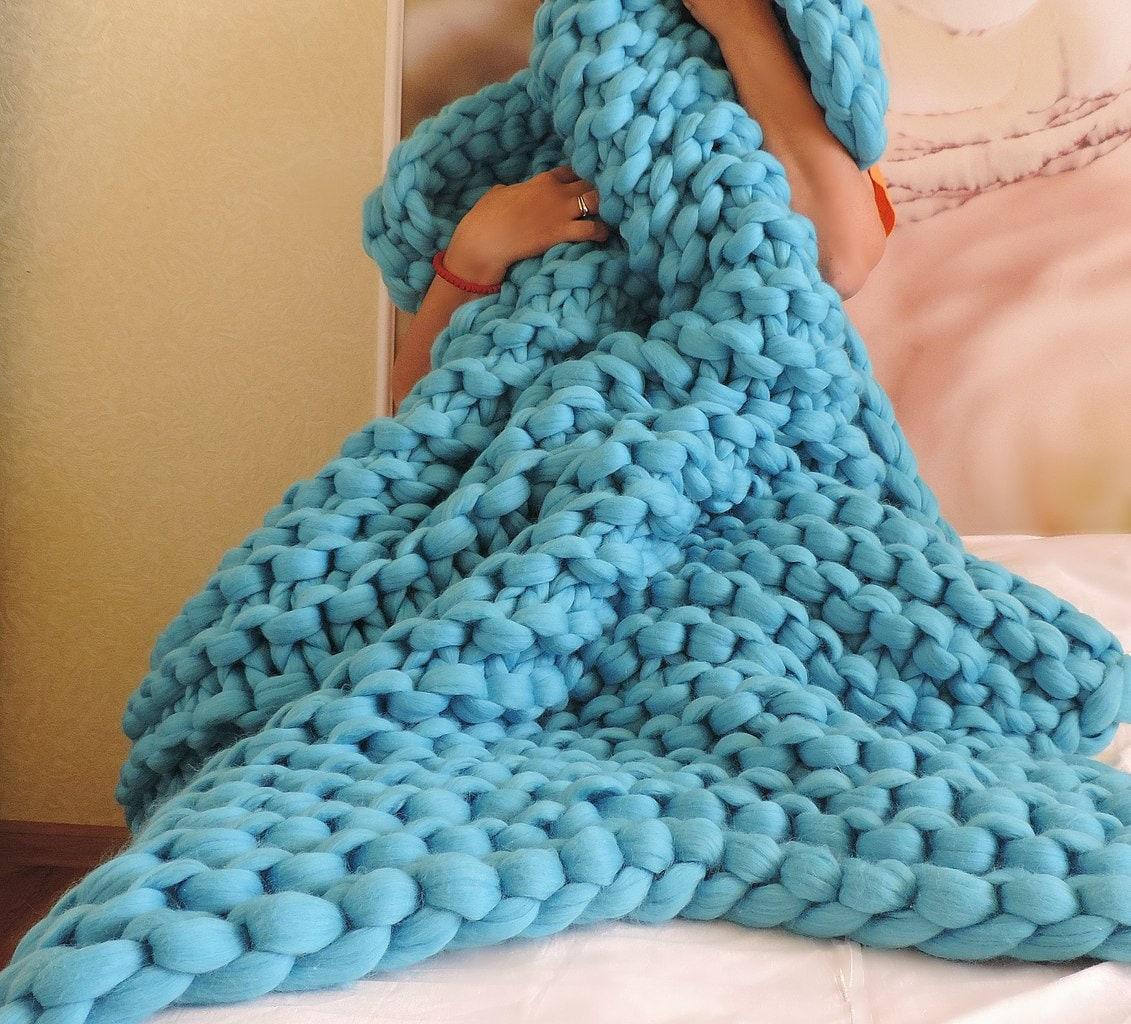 Knitted Blanket Chunky Knit Blanket Chunky Blanket Blanket