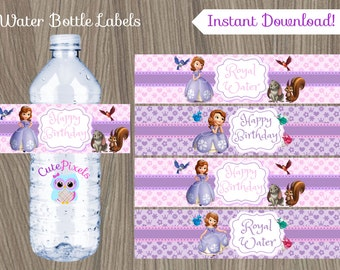 Sofia the first Water Bottle Label, Princess Sofia Water Bottle Labels, Princess Sofia Party, Sofia the first Birthday, Bottle Labels