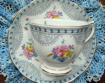 Royal Albert Bone China England - Vintage Tea Cup and Saucer, Multifloral with a Grey and Blue Design