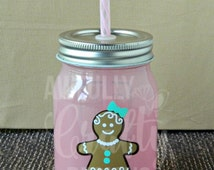 pink gingerbread mason jar mug, gingerbread girl, milk and cookies mug, mason jar with lid and straw, winter cup, Christmas gift, Santa cup