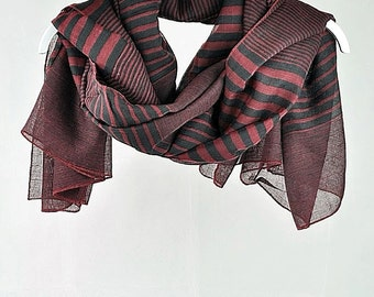 Red Scarf, Black Scarf, Striped Scarf, Large Scarves, Accessories, Gift For Her, gift for coworker, gift for boss, best friend (VS-30-01)