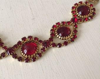Vintage 1950s Ruby Red Rhinestone Bracelet