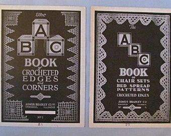 Two Crochet Pattern Booklets – Edgings, Chair Sets, Bedspreads, 1920, Illustrated