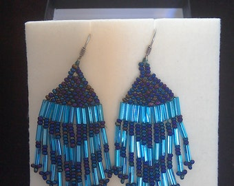Iridescent Native American style beaaded earrings
