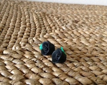 Show your dark side with these adorable Black Rose soft polymer clay post earrings.