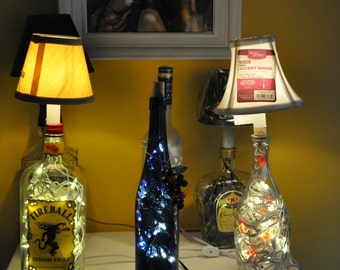 Blue Reisling Wine Bottle Night Light with Clear LED Lights and Faux Grapes