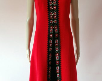 Vintage 1960s Superb Red MOD Twiggy Wool Shift Scooter Dress - Ric Rac