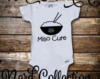 Baby Onesie Miso Cute Me So Cute Funny Chinese Food Joke Cute Custom New Mom Dad New Baby Shower Gift Nursery Clothing Gerber