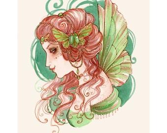 Absinthe Fairy A4 size Print- Steampunk Watercolour Art Nouveau Green Faery Fantasy Illustration