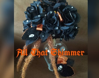 Halloween Bouquet & Matching Boutonniere ~ Wedding Bouquet and Boutonniere Ready to Ship, Black Rose Bouquet, Birch Handle