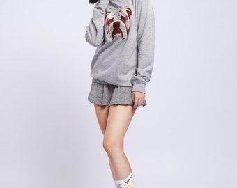 40 % OFF | ENGLISH BULLDOG | Grey sweatshirt with embroidered English bulldog dog | English Bulldog sweater