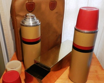 Vintage Thermos Brand Picnic Set with 2 thermos' and Metal Sandwich Box      00974