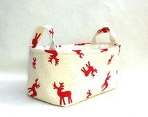 RED REINDEER SCANDINAVIAN Style Gift Bag Medium Storage Organizer Box Quality Cotton Fabric Natural Canvas Interlining Nordic gift Christmas