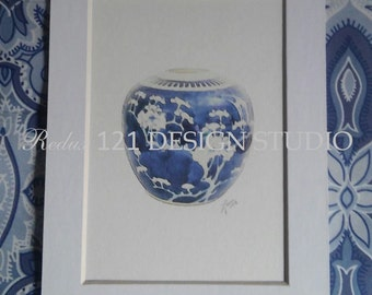 Chinoiserie Watercolor Style Giclee Art Print Blue and White Ginger Jar #6 Chinese Porcelain Hollywood Regency - Choose 5x7 or 8x10 Unmatted