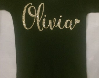 Black Glitter Name Onesie