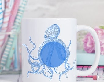 Coffee Mug Blue Octopus Coffee Cup
