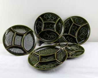 Vintage porcelain Fondue Plate  ceramic green