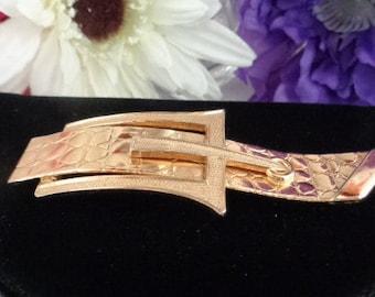 """Vintage NAPIER Goldtone Belt Buckle Pin. Measures Over 3"""" Long. Signed."""