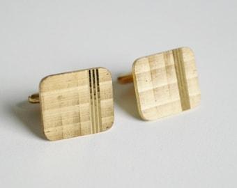 Gold Plated Cufflinks Vintage Cufflinks Rectangular Shape Cufflinks Mens Accessory Three Lines