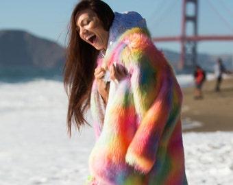 RAINBOW Festival Jacket | Burning Man clothing | Burning Man fur jacket | Burning Man costume | Boho Coat