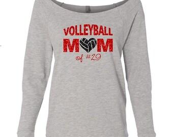 Volleyball Mom Shirt. Volleyball Mom. Volleyball. Custom Volleyball Shirt. Custom Number. 3/4 Sleeve Wideneck Shirt.
