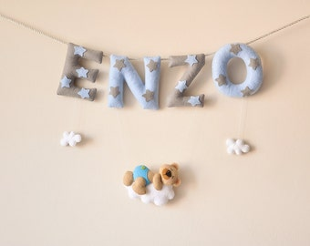 Felt name banner, Teddy Cloud, custom nursery decor, personalized gift, baby felt letters, child room baby name garland, custom felt name