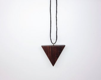 TERRILL TACTILE Rosewood Triangle Wooden Necklace