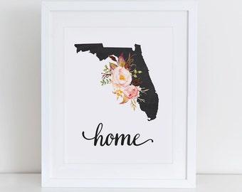 Florida Art Print, Florida Printable Art Print, Instant Download, Florida Wall Art, 8x10 Art Print, Florida Art Print Wall Decor