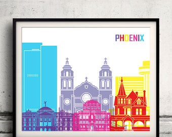 Phoenix pop art skyline - Fine Art Print Glicee Poster Gift Illustration Pop Art Colorful Landmarks - SKU 1986