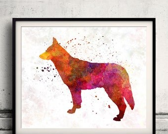 Saarloos Wolfdog in watercolor 8x10 in. to 12x16 in. Fine Art Print Glicee Poster Decor Home Watercolor Illustration - SKU 1194