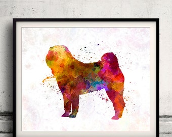 Shar Pei in watercolor 8x10 in. to 12x16 in. Fine Art Print Glicee Poster Decor Home Watercolor Illustration - SKU 1226
