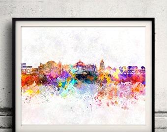 Jaipur skyline in watercolor background - Poster Digital Wall art Illustration Print Art Decorative - SKU 1461