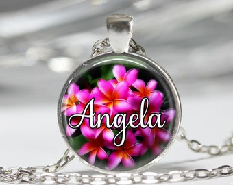 Personalized Pendant Necklace or Keyring  Charm,  Gift.Spring flowers, customized, Hawaiian Pink flowers