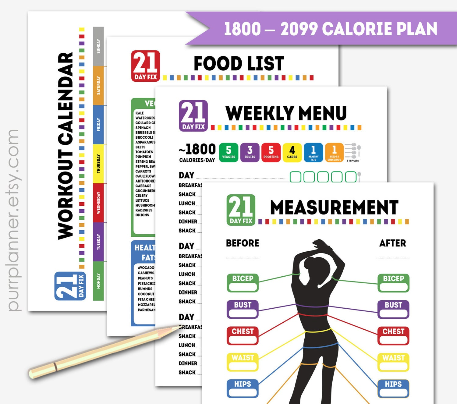 Printable 1800 calorie 21 day fix journal diet and by purrplanner