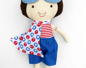 SUPERHERO boy rag doll in nautical style for sea party, handmade fabric sailor boy doll, soft toy for toddlers or for superhero birthday,