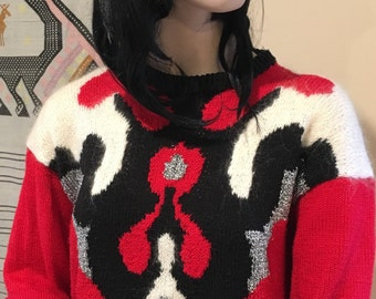 1980s Top-80s Jumper-Sparkly Jumper-Sparkly Top- Country Western Top-Medium Sweater-Kath Kim Jumper- Handknit Jumper- Red-Silver-Black-White
