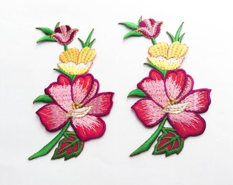 2 pcs  Pink, Yellow, Gold  Flower Patch/Embroidered Flower Patch /Embroidered Iron on Patch / Flower Applique Size 5.9x11.8cm