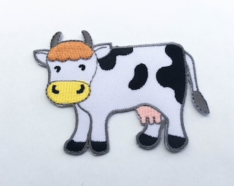 Cow Iron On Patch (M) -  Cow Cartoon Applique Embroidered Iron on Patch Size 7.9x5.8 cm