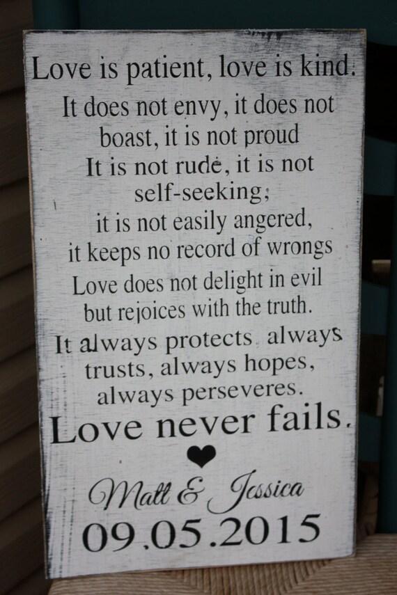 Love Is Patient Love Is Kind Wedding Sign 1st Corinthians