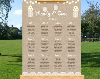 Rustic Wedding Seating Chart, Burlap Mason Jar, Reception Seating Chart, Personalise, Printable, Find Your Seat