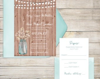 Wedding Invitation Suite, Wedding Invitation, Rustic Wedding Invitation, Wooden, Baby's Breath, Mason Jar