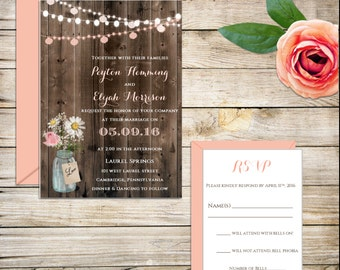 Rustic Wedding Invitation, Shabby Chic Wedding Invitation, Mason Jar, Country Wedding Invitations, Wooden Invitation