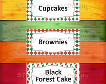 Party Food Tent Cards, Red Green, Holiday Party - Christmas Feast, Party Supplies, DIY Customizable, Instant Download - TFD421