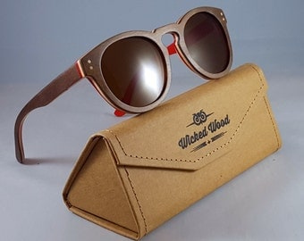 Skateboard wood sunglasses, Round lenses and frames, Brown and Red, Unisex, Gradient lenses, Wicked Wood