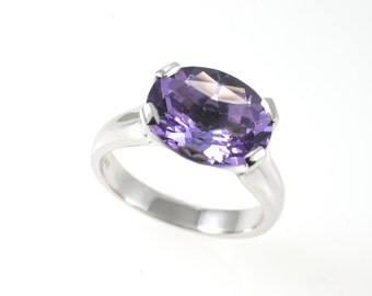 Amethyst t ring, purple stone ring, Purple amethyst ring, silver ring, silver amethyst ring, sterling silver ring