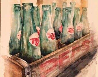 Bell Buckle Bottles, Giclee print from original watercolor