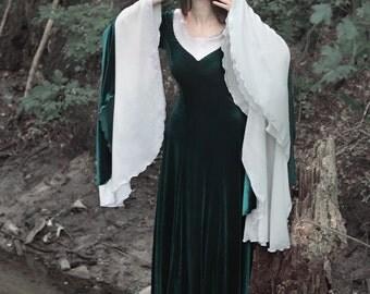 Emerald Elven Dress, Fairy Elven Wedding Gown, Pre-Raphaelites Gown