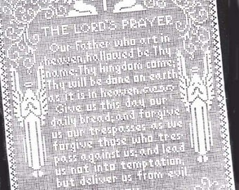 Filet Crochet The Lord's Prayer Wall Panel Vintage Pattern PDF Catholic & Protestant Versions