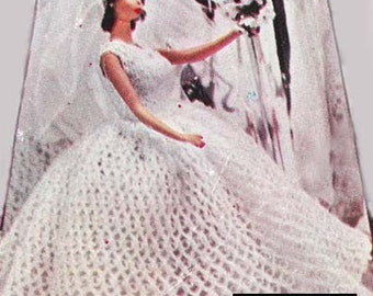 Crochet Barbie PDF Bridal Gown Wedding Dress Pattern for 8-10-12-19 inch Dolls Barbie Ginny