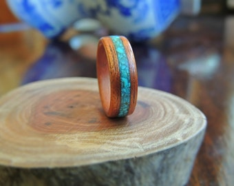 Turquoise bentwood timber ring